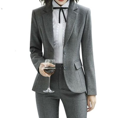Fashion Slim Suits Two Together Working Women Wear Long Sleeved Jacket Pants Office Ladies Femme Tops And Blouses Maternity
