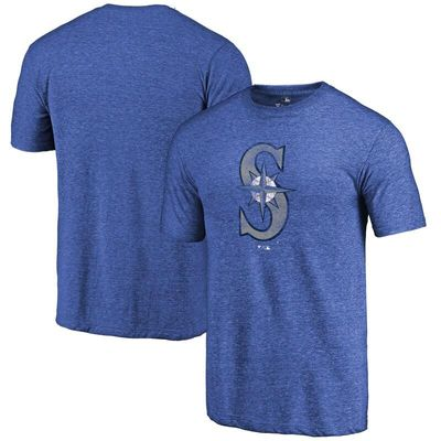 Seattle Mariners Distressed Team Tri-Blend T-Shirt - Heathered Royal