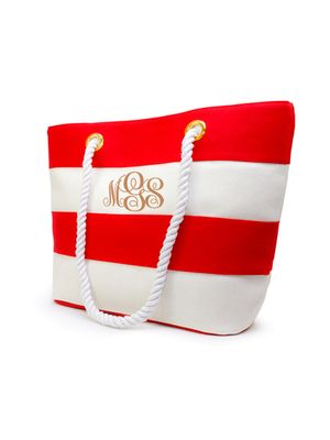 Personalized Beach Tote Bag. Small Red Canvas with Laser-Engraved Monogram
