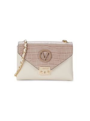 Valentino by Mario Valentino Isabelle Croc-Embossed Leather Shoulder Bag