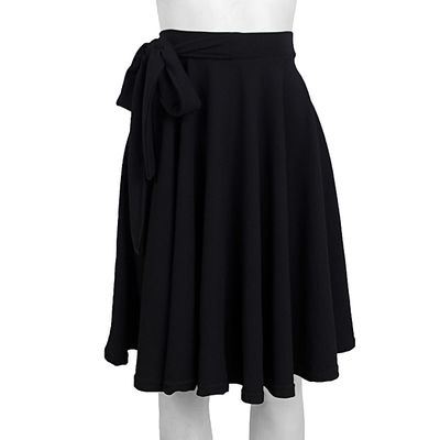 Black Flared Skirt With Attached Belt