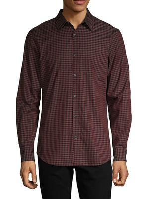 Perry Ellis Gingham-Print Cotton Shirt