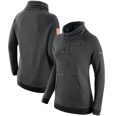 Arizona Cardinals Nike Women's Salute to Service Rally Funnel Pullover Hoodie - Charcoal