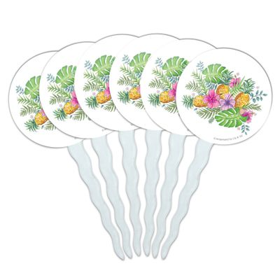Tropical Flowers Hibiscus Pineapple Palm Leaves Cupcake Picks Toppers Decoration Set of 6