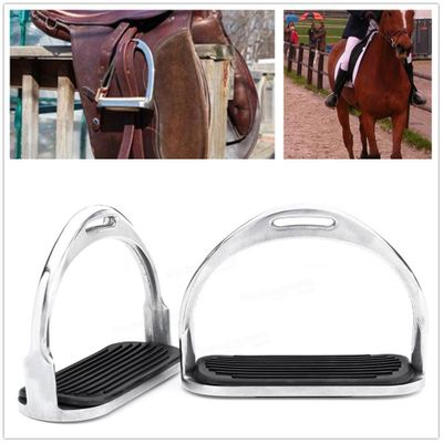 None 1 Pair 120mm Stainless Steel Horse Riding Stirrup Equestrian Stirrup Anti-slip Pad
