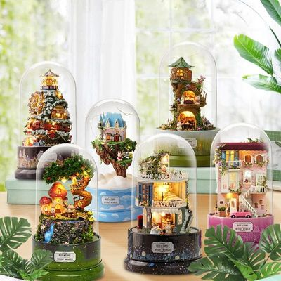 DIY Miniature Dollhouse Doll House Dust Cover With Furnitures Wooden House For kids Birthday Gifts Mood for Love Toys Cute Room