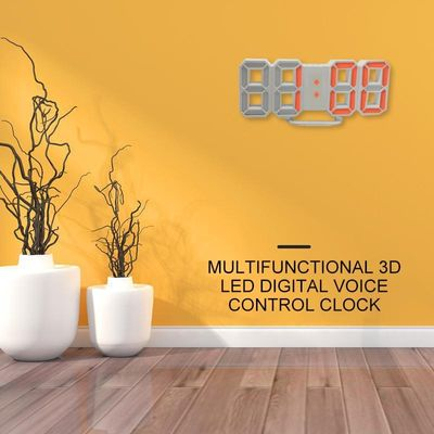 Modern 3D Digita LED Digit Large Table Wall Snooze Clock Dimmer Alarm Clock Calendar Temperature Display Brightness Adjustable
