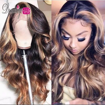 13x6 Part Brazilian Lace Front Human Hair Wavy Wig With Baby Hair Ombre Blonde Highlights Color Middle Part Pre Plucked Dreaming