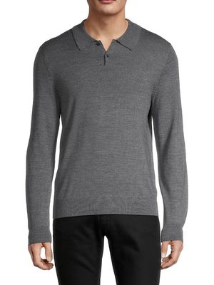 Saks Fifth Avenue Merino Wool-Blend Long-Sleeve Polo