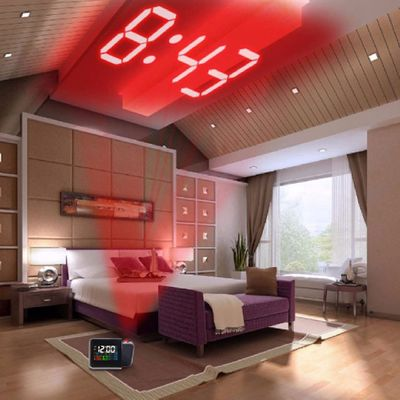 CF Grow Colorful LED Projection Clock Digital Display Thermometer Hygrometer Desk Clock Time Projector Multifunction LED Clock