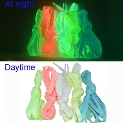 1 pair Sport Luminous Shoelace Glow In The Dark Night Color Fluorescent Shoelace Athletic Sport Flat Shoe Laces Hot Selling