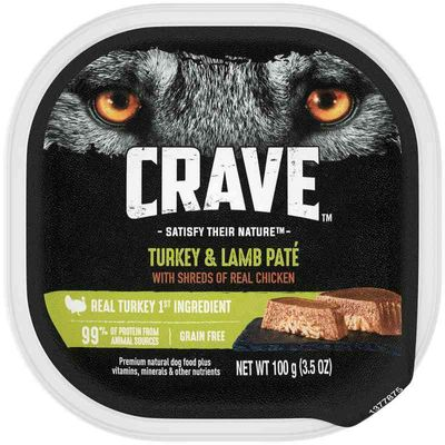 CRAVE Grain Free Adult Wet Dog Food Turkey and Lamb Pate with Shreds of Real Chicken, 3.5 oz. Tray