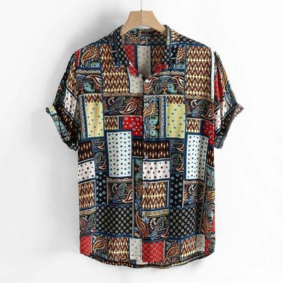 Summer Men's Shirts Ethnic Style Vintage Printing Short Sleeve Loose Korean Clothes Casual Dress Shirts Men Camisa Masculina