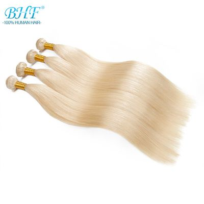 BHF 100% Human Hair Weft Straight Russian Machine Made Remy Natural Hair Weave one Piece 100g Platinum Blonde Color
