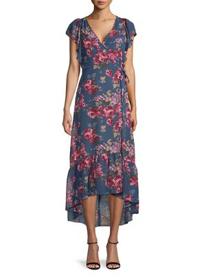 SUPPLY & DEMAND Floral-Print Ruffled High-Low Dress