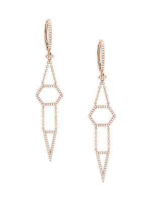 Saks Fifth Avenue 14K Rose Gold & Diamond Earrings