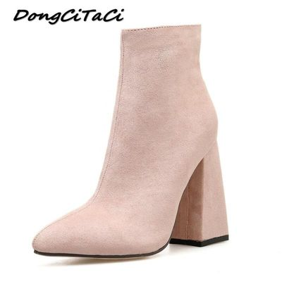 DongCiTaCi Western Booties Autumn Winter Boots Women Shoes Woman Thick Heels Ankle Boots England Retro Pink Knight Boots 35-42