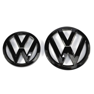 135mm Gloss Black Front Grill Badge + 110mm Gloss Black Rear Trunk Lid Emblem Logo for VW Volkswagen Golf MK7