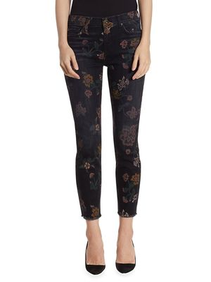 7 For All Mankind Roxanne Floral Raw-Hem Jeans