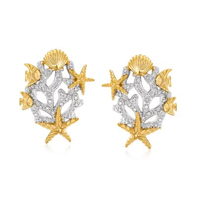 Ross-Simons Diamond Sea Life Earrings in Sterling Silver and 18kt Gold Over Sterling
