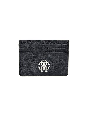 Roberto Cavalli Logo Crest Saffiano Leather Card Holder