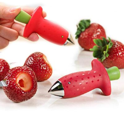 Fruit Leaf Remover Strawberry Huller Metal Tomato Stalks Plastic Remover Gadget Strawberry Hullers Kitchen Gadgets