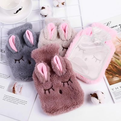 Cartoon Rabbit Hot Water Bottle PVC Stress  Relief Therapy Hot Water Bag With Knitted Soft Cozy Cover Hand Warmer For Winter