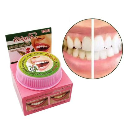 Natural Herbal Clove Thailand Toothpaste Tooth Whitening Powder Remove Stain Allergic White Tooth Paste