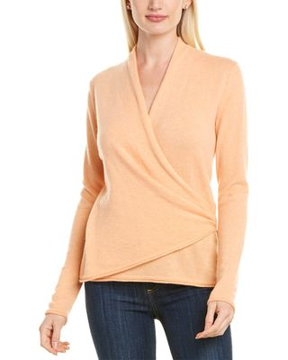 Lafayette 148 New York Wrap Front Cashmere Sweater