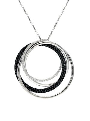Effy 14K White Gold & Diamond Circular Pendant Necklace