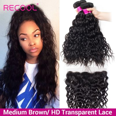 Recool Hair Brazilian Water Wave Bundles With Closure HD Transparent Lace Frontal With Bundles Human Hair Bundles With Frontal