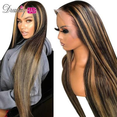 Highlight Ombre Brazilian Straight Hair Lace Front Human Hair Wigs Pre Plucked Honey Blond Brown And Blond Wigs With Baby Hair