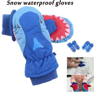 Children Skiing Shark Thickening Play Snow Waterproof Lovely Outdoor Warm Gloves Driving gloves and warm in winter