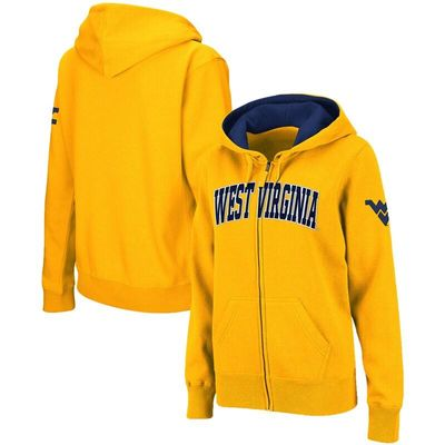 West Virginia Mountaineers Stadium Athletic Women's Arched Name Full-Zip Hoodie - Gold