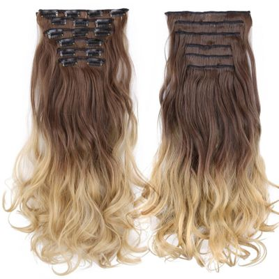 Alileader 55cm 100% Real Natural Long Synthetic Hair Extention Heat Resistant Hairpiece Clip Curly 22inch Blond Brown 1pc