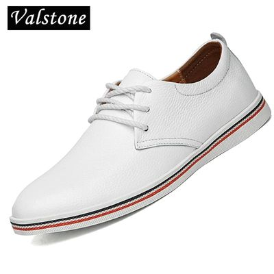 Valstone Luxury Quality Genuine Leather casual Shoes Men White sneakers boat shoes comfortable soft flats low cut big sizes 47