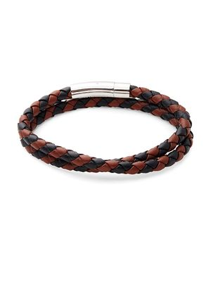 Jean Claude Braided Leather and Stainless Steel Bracelet