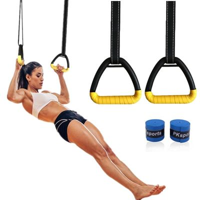 Gymnastics Rings with Adjustable Straps for Adult Child Full Body Strength Training Pull Ups Fitness Exercise Crossfit Workout