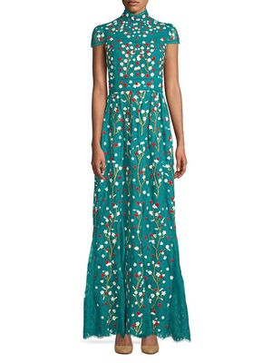 Alice + Olivia Arwen Floral-Embroidered Cap Sleeve A-Line Gown