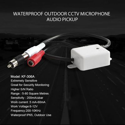 CCTV Audio Pick Up MIC Extremely Sensitive Mini Audio Microphone Waterproof IP65 Outdoor Use FOR The PTZ Speed Dome IP Camera