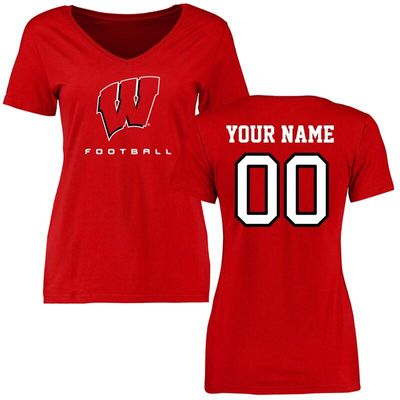 Wisconsin Badgers Women's Personalized Football T-Shirt - Red