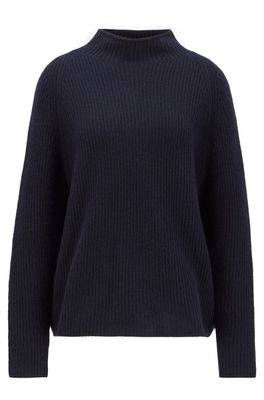 HUGO BOSS - Relaxed Fit Sweater In Pure Cashmere With Funnel Neck