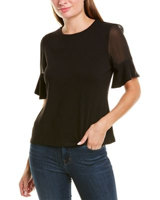 Vince Camuto Mixed Media Flutter Top