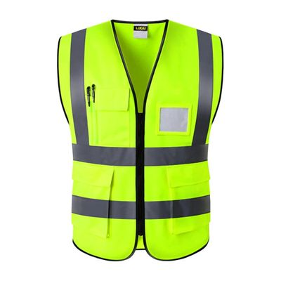 Waistcoat Reminder Safety Vest Night Construction Reflective Multi Pocket Easy Clean Wear Resistant Worker Waterproof Protection