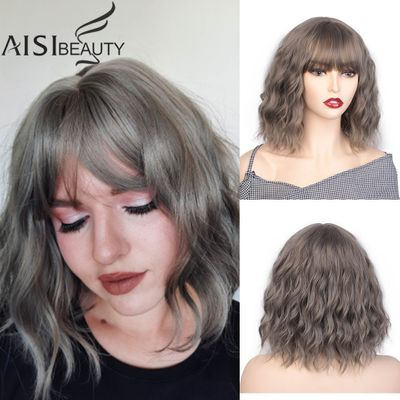 AISI BEAUTY 12''Bob Wig Synthetic Wig Women's Water Wavy Wigs With Bangs Brown Black Purple Natural Hair Wig Daily Cosplay Wigs