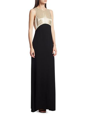 Ahluwalia Bi-Color Beaded Sleeveless Mermaid Gown