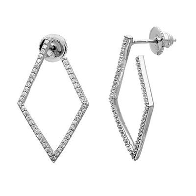 Silver Mama Wrap Around Geometric Crystal Hoops .925 Sterling Silver