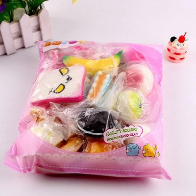 10pcs Medium Mini Soft Bread Squeeze Toys Key Cute Squishy Package Cute Toys Key Rising Wipes Anti-stress Squeeze Toys For Child