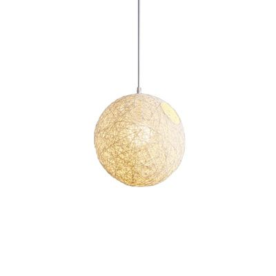 White Bamboo, Rattan And Hemp Ball Chandelier Individual Creativity Spherical Rattan Nest Lampshade