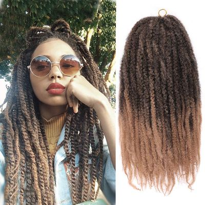 Black Star 18inch Afro Kinky Curly Marley Crochet Braiding Twist Hair Ombre Kanekalon Synthetic Marley Braids Hair Extensions